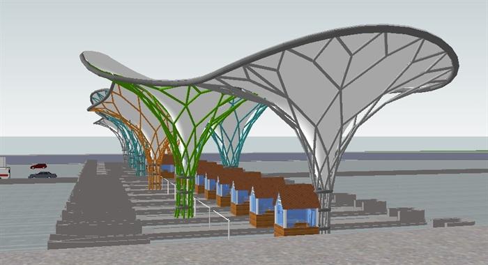 拉膜结构高速收费站sketchup精致设计模型[原创]