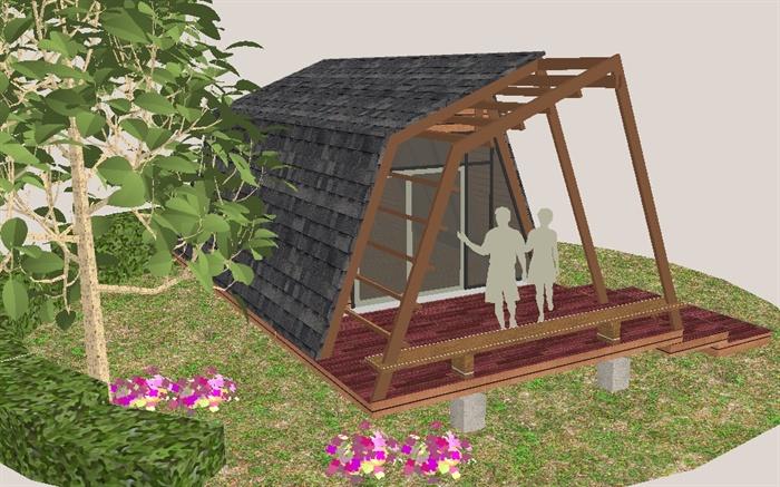 公园景观小木屋sketchup精致设计模型(1)