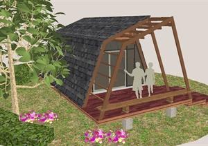 某独特景观小木屋精致设计su(草图大师)模型图片