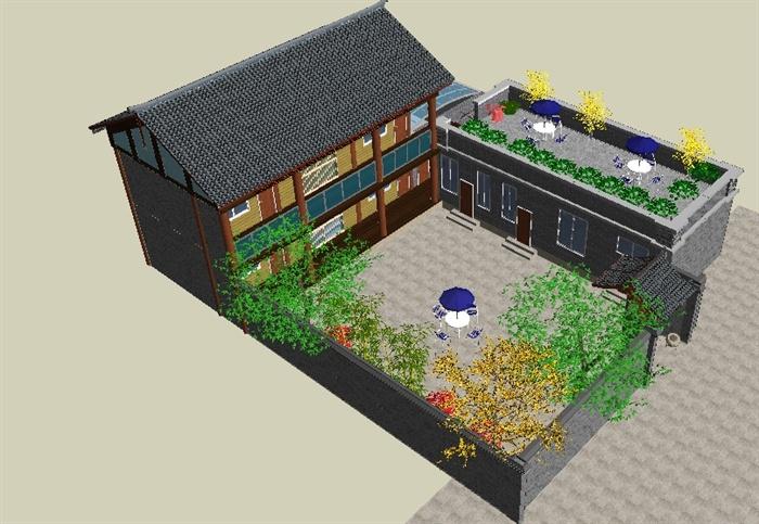 农村自建别墅小院su精致设计模型(4)