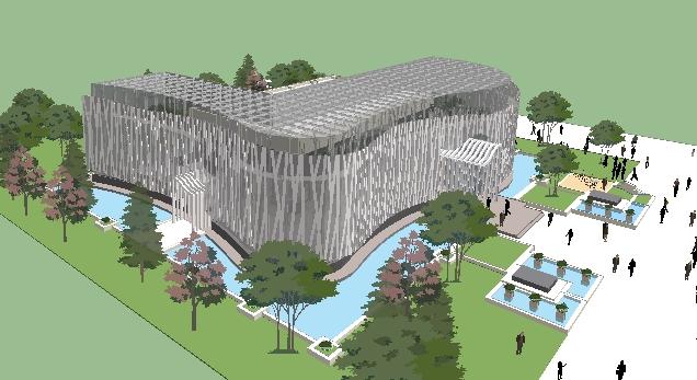 现代弧形钢构会所建筑设计su模型[原创]