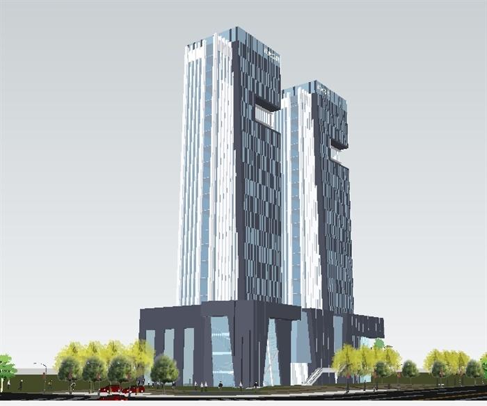 双塔楼现代商业办公大厦su精细设计模型[原创]