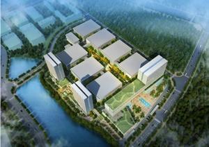 一个现代科技产业园详细设计SU(草图大师)模型