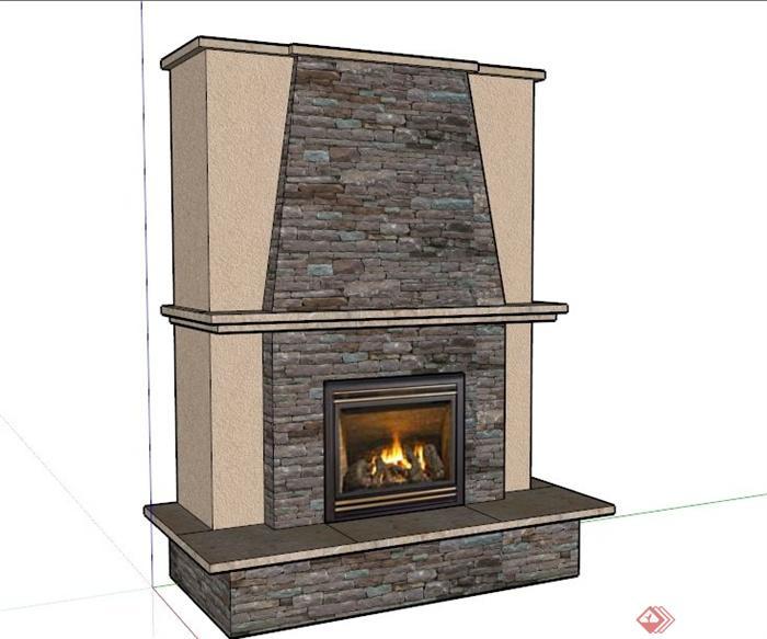 室内住宅壁炉设计SU模型