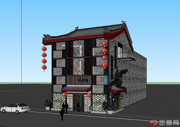 现代中式风格美术展馆建筑设计su模型[原创]