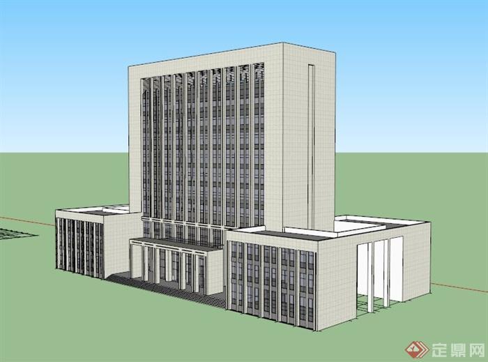 現代高層政府辦公大樓建筑設計su模型[原創]