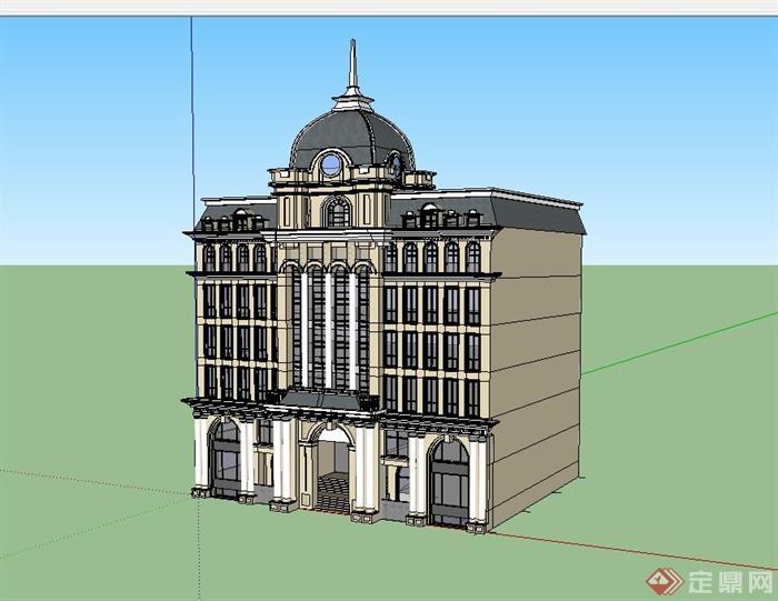 欧式商务会所建筑设计su模型[原创]