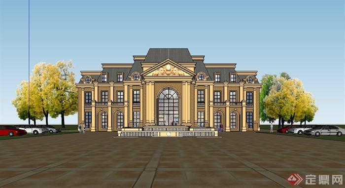 某欧式风格精致完整的私人会所建筑设计su模型[原创]