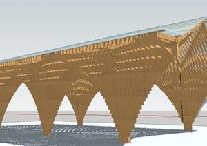 一个酒店入口大堂廊架Su精致设计模型