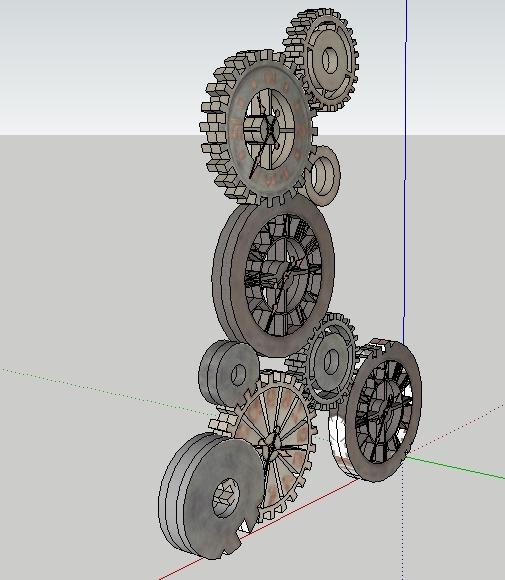 一个工业齿轮雕塑su精细设计模型[原创]