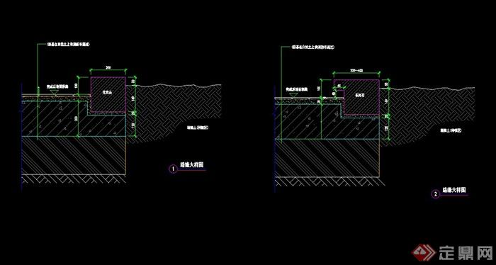 > 某现代风格道牙节点设计cad施工图,该节点绘制详细精致,包含了材料