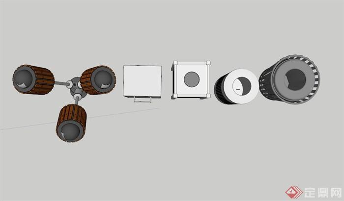 5个简约垃圾箱设计su素材模型[原创]