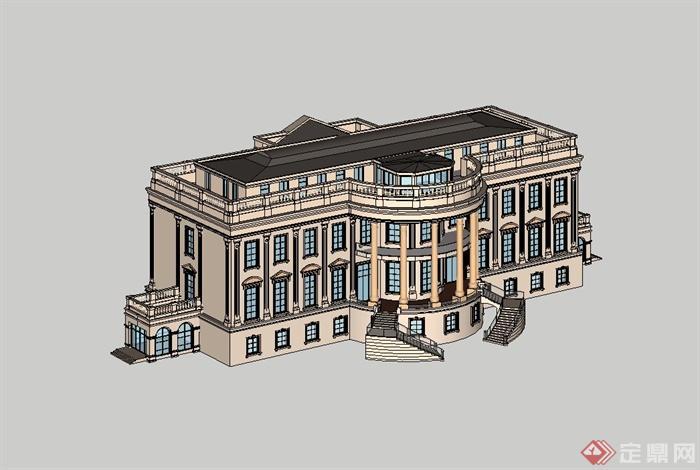 精致欧式风格会所建筑设计su模型[原创]