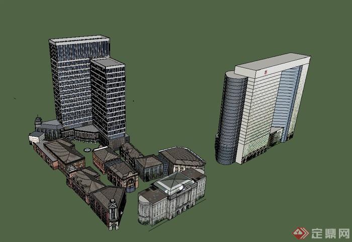 欧式风格商业楼,办公大楼综合建筑设计su模型[原创]