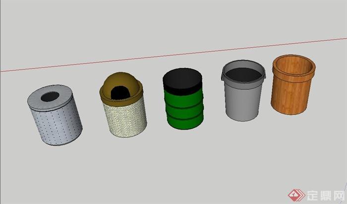 五种圆柱体垃圾箱设计su素材模型[原创]