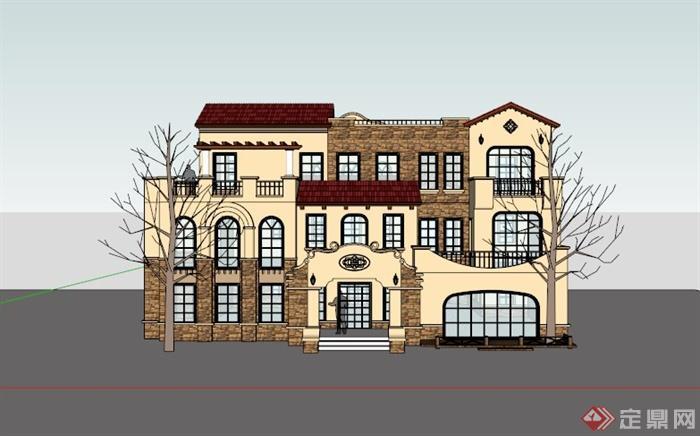 三层欧式独栋住宅别墅建筑设计su模型[原创]