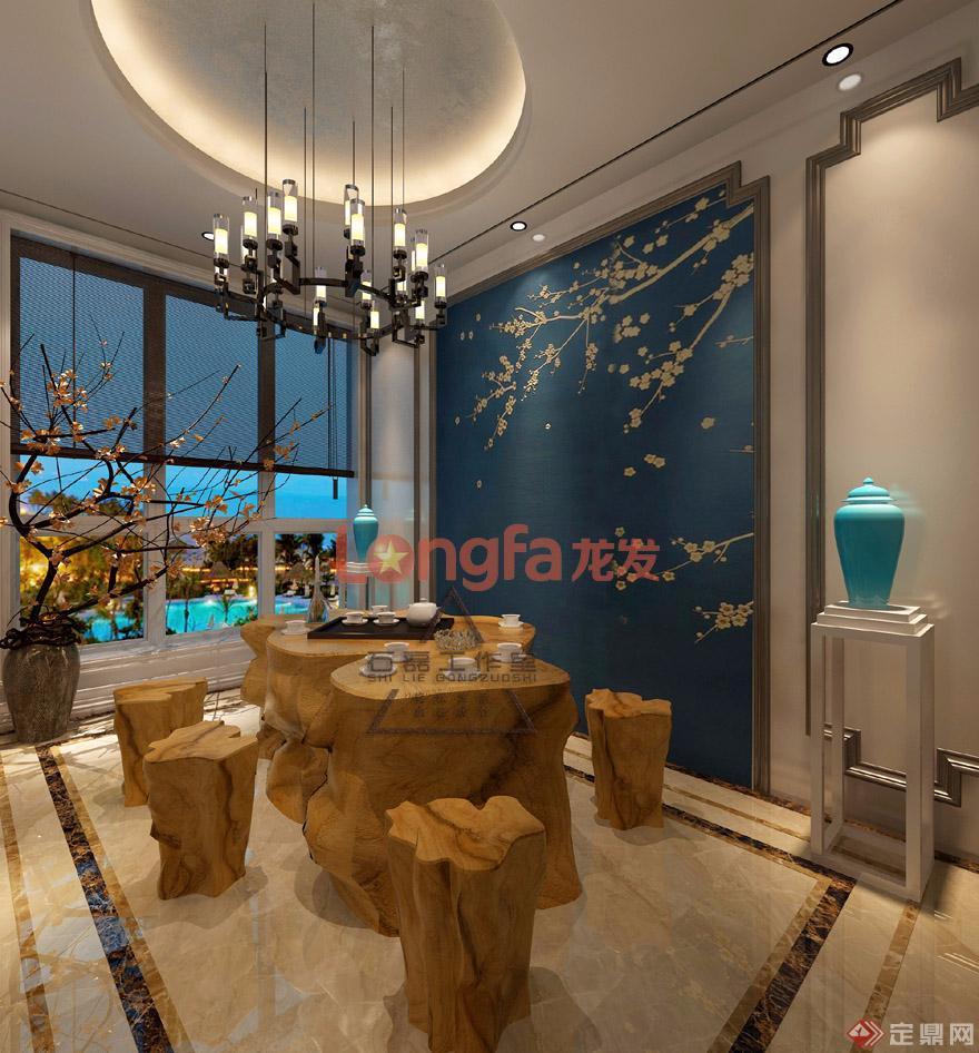 茶室 装修效果图门厅:硬包造型刺绣,实木茶海,圆形吊顶,天圆地方的