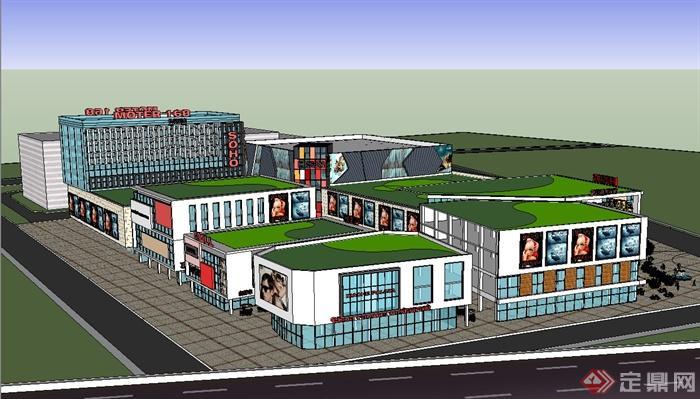 某现代风格商业中心商业建筑设计su模型[原创]