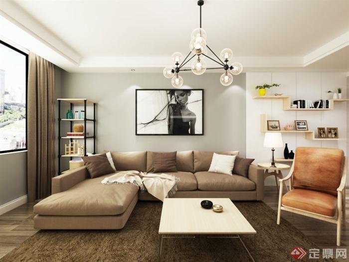 北欧风室内大三居设计石油-案例组合沙发设计规划设计客厅图片