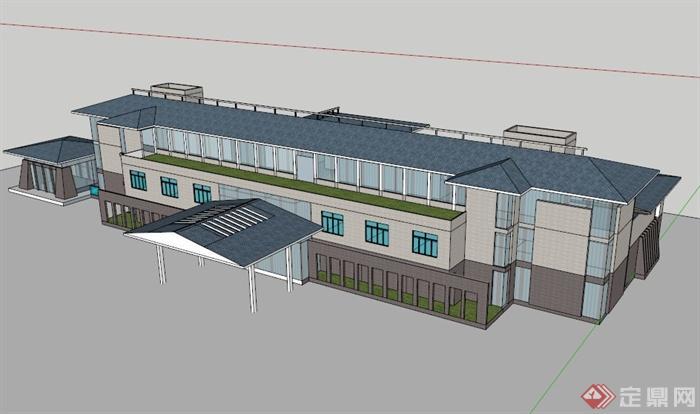 现代中式多层会所建筑设计su模型素材(1)