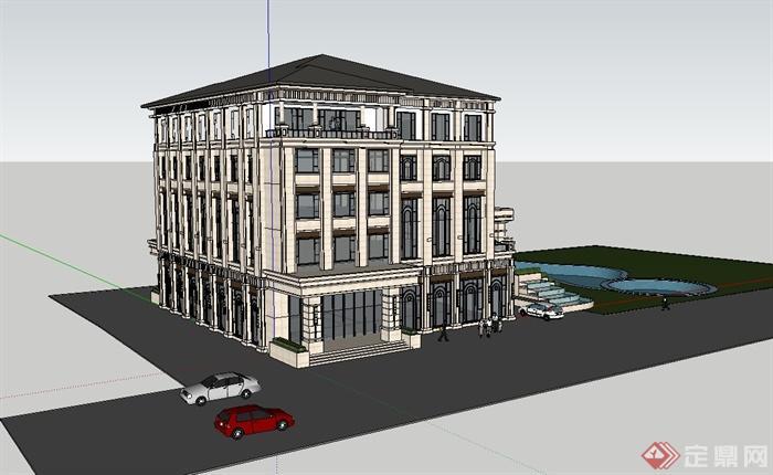 欧式风格多层商务会所建筑设计su模型[原创]