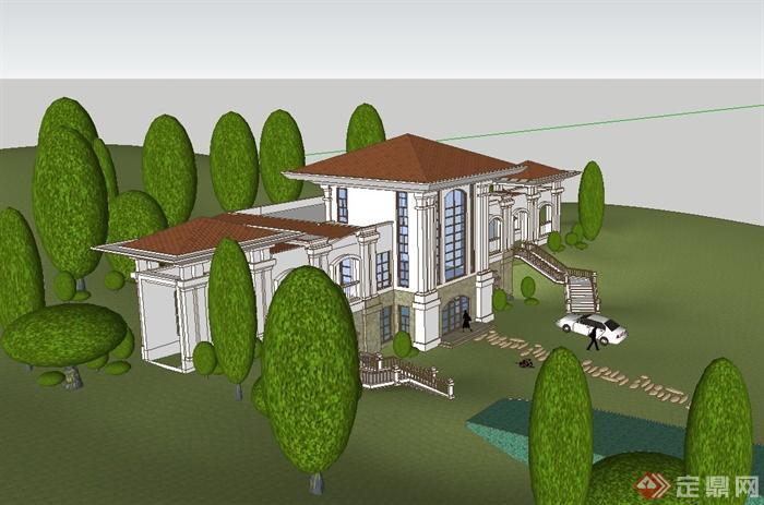某欧式风格山地会所建筑设计su模型[原创]