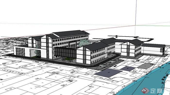 徽式风格会所建筑师设计su模型(3)图片