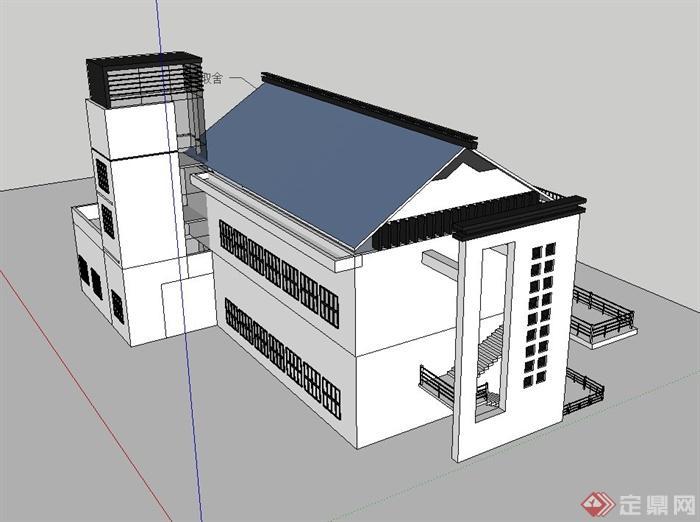 现代中式风格校园教学楼建筑设计su模型(3)