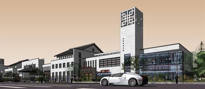 新中式风格商业街商业建筑设计su模型[原创]