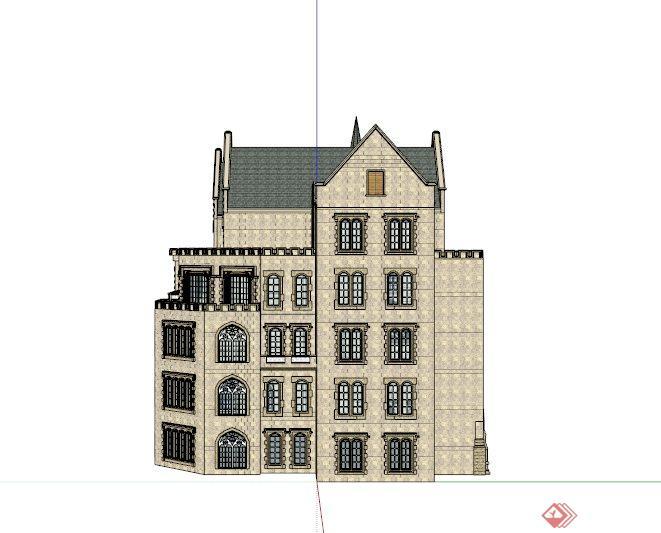欧式别致三层会所建筑设计su模型[原创]