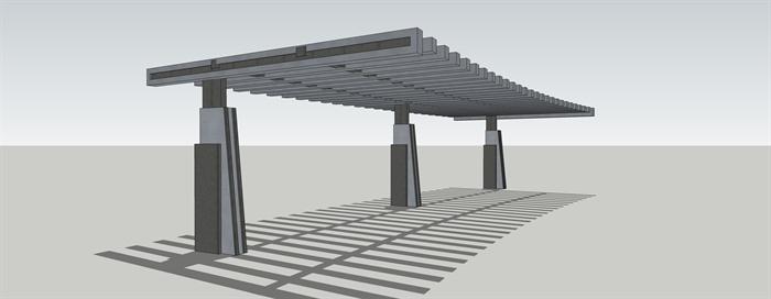 钢结构廊架设计su模型[原创]