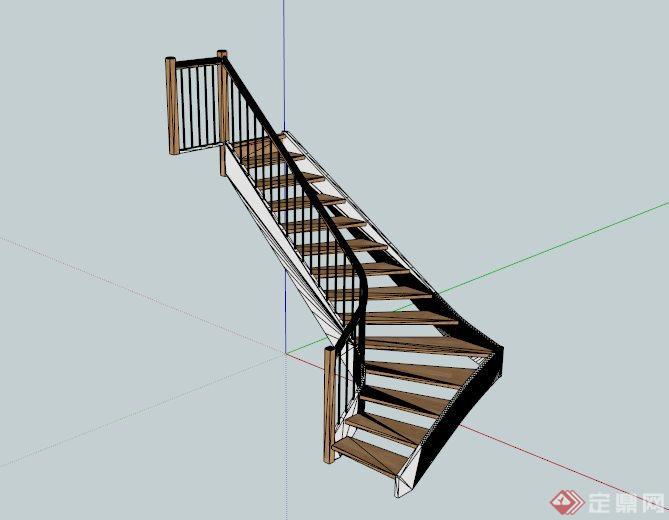 室内木楼梯设计su模型[原创]