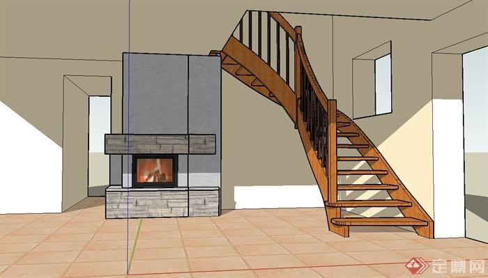 现代风格室内空间木楼梯设计su模型[原创]