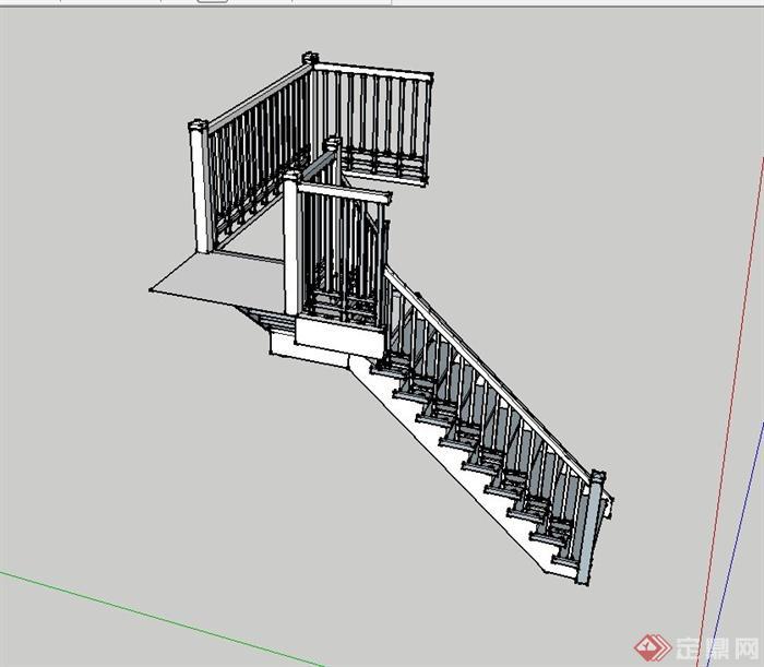 某现代中式风格跃层楼梯设计su模型(3)图片
