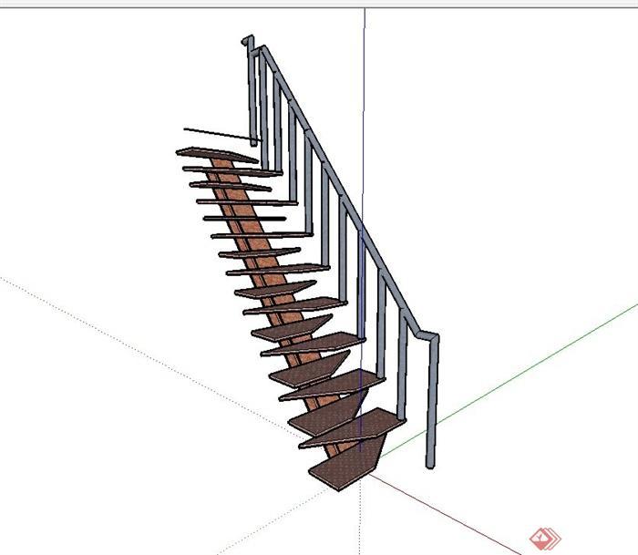 某现代风格工业建筑楼梯设计su模型[原创]