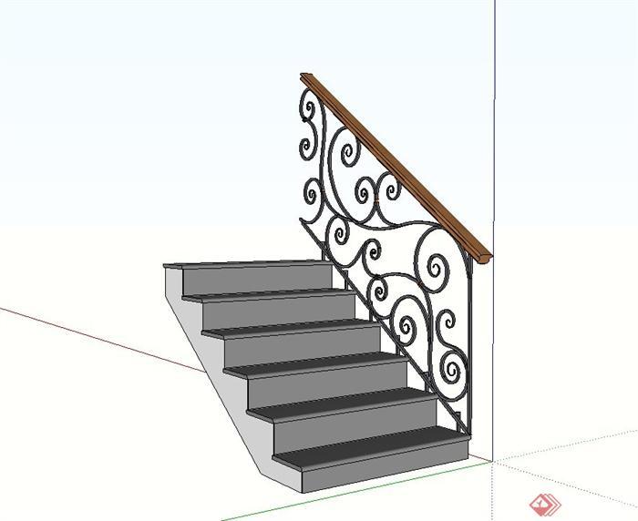 欧式风格铁艺栏杆楼梯设计su模型(2)