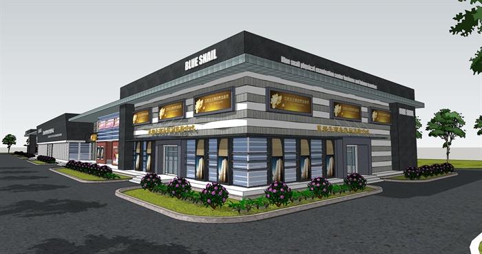 两层现代商业建筑设计su模型[原创]
