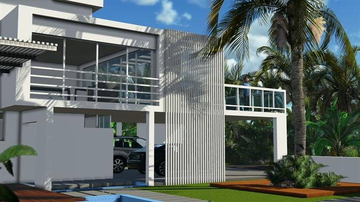 现代别墅洋房建筑设计 SU模型 JPG效果图
