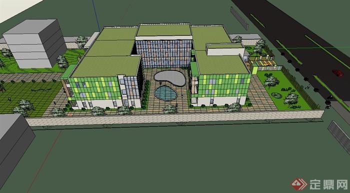某现代风格校园建筑及景观设计su模型(3)