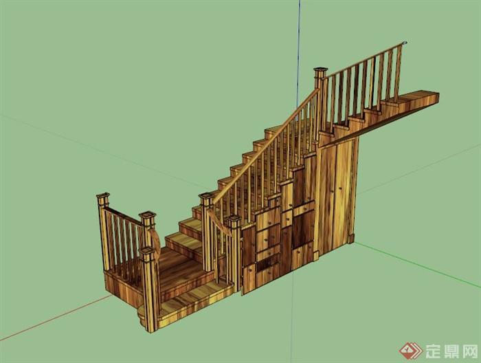 室内储物木楼梯设计su模型[原创]