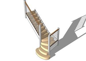 某现代风格住宅楼梯设计SU(草图大师)模型