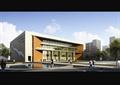 某大学食堂活动中心报告厅建筑cad施工图设计(含效果图)