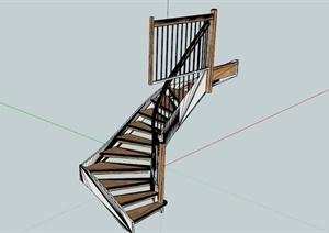 木制旋转楼梯SKP模型