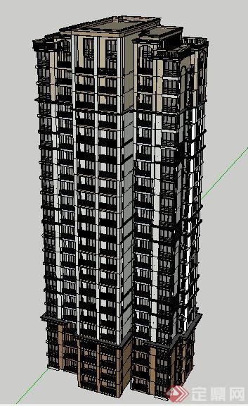一梯三戶高層住宅樓建筑設計su模型[原創]