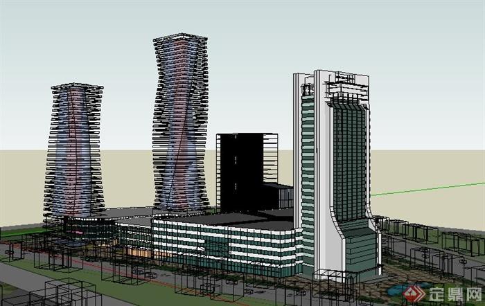 现代商业中心综合体建筑设计su模型[原创]
