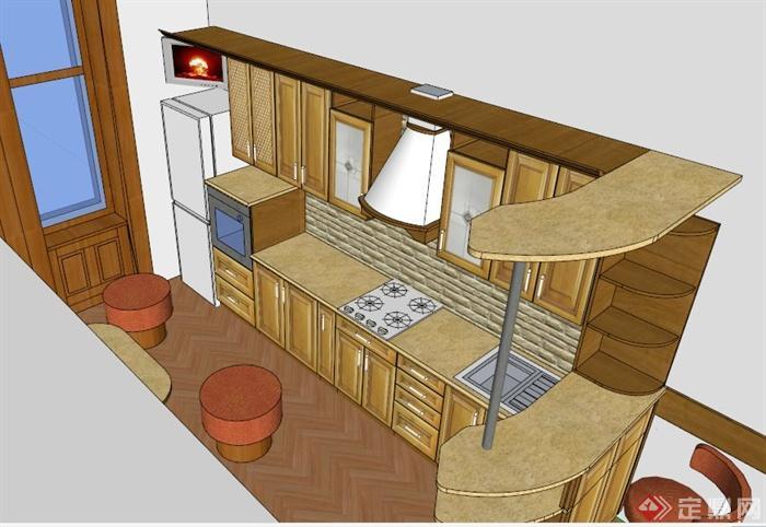 某欧式木材厨柜设计su模型[原创]