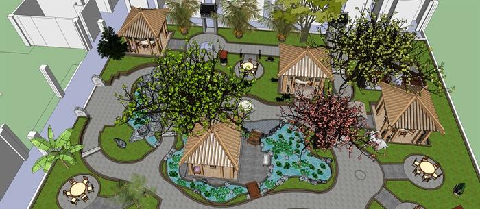 生态园农家乐庭院景观设计su模型[原创]图片
