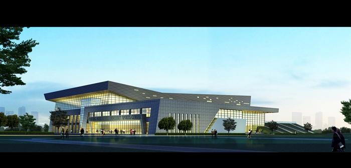 某大学体育活动中心风雨操场建筑方案设计(cad平立剖、效果图),总用地面积约28998平方米,总建筑面积约1.5万平方米,建筑内容包括3500人以上比赛馆(场地面积不小于两片篮球场,配置2片电子显示屏),学生体质健康检测场所一个、辅馆一个、武术、羽毛球、乒乓球、健美操、跆拳道、形体训练、健身房等教学健身场地,还需容纳体育部教师办公室、荣誉室、体育器材室以及贵宾休息室、贵宾活动室、裁判员休息室、技术官员休息室、运动员休息室、新闻发布室等比赛配套用房。总建筑高度不超过24米。