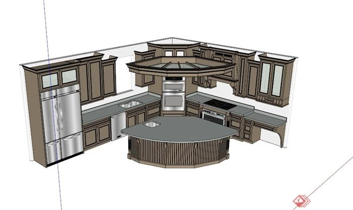 欧式L型厨柜吧台组合设计SU模型,该设计风格为欧式设计风格,主材为木材,呈L型造型设计,包含橱柜模型设计和吧台模型设计,造型简约,使用广泛,模型制作美观详细,细节部分制作精致,有材质贴图,具有一定参考使用价值,欢迎下载使用。