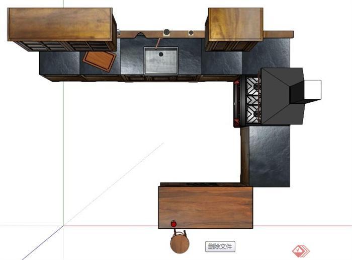 深色木材厨柜吧台设计su模型[原创]